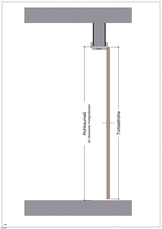 Zur Bestimmung der Türhöhe wird von den Rohbaumaßen (RBM) ausgegangen.
