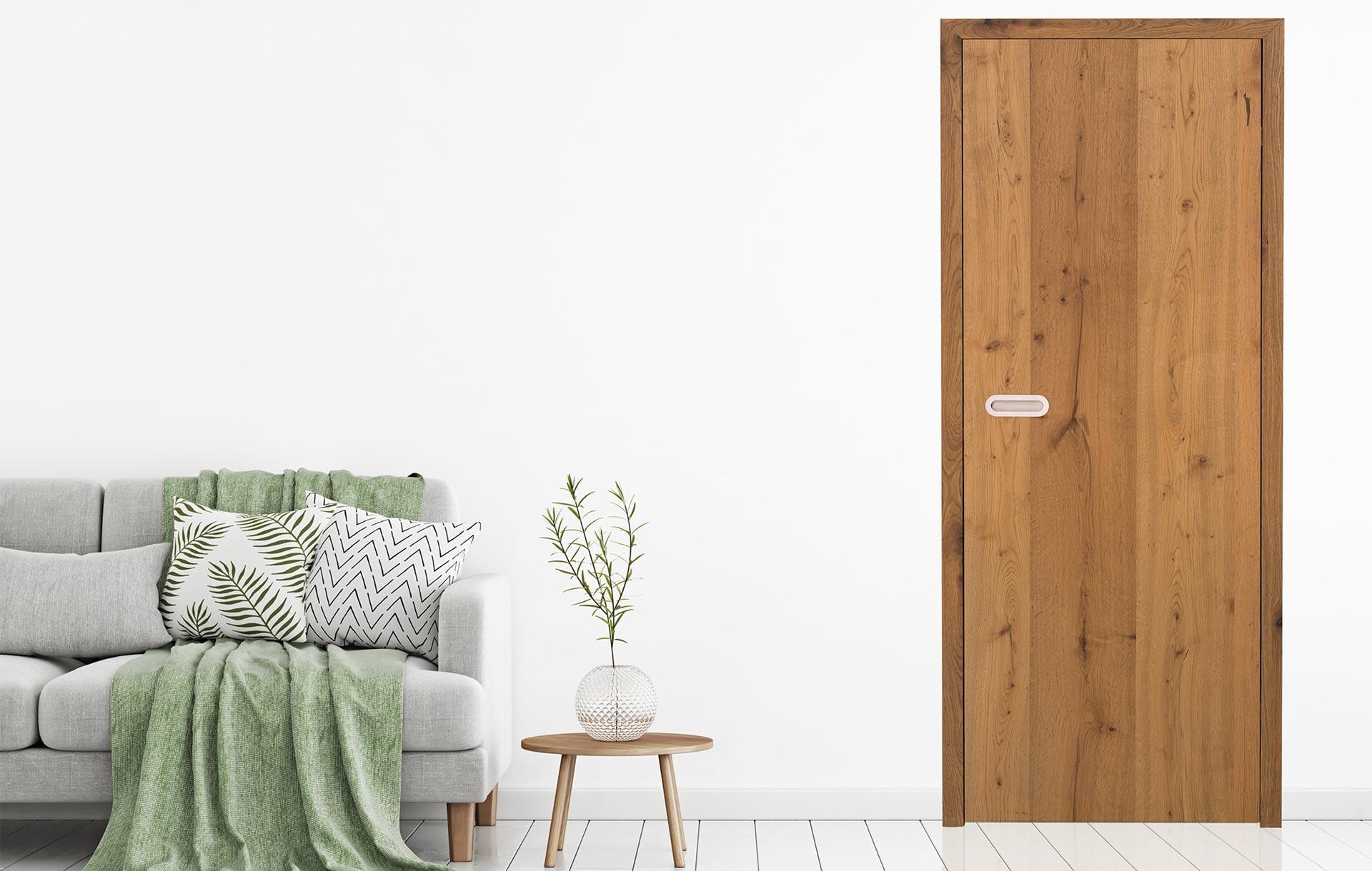 Beispiel: Wandbündige Holz-Zarge Stumpf einschlagend Kombination Bekleidung und Futterbrett