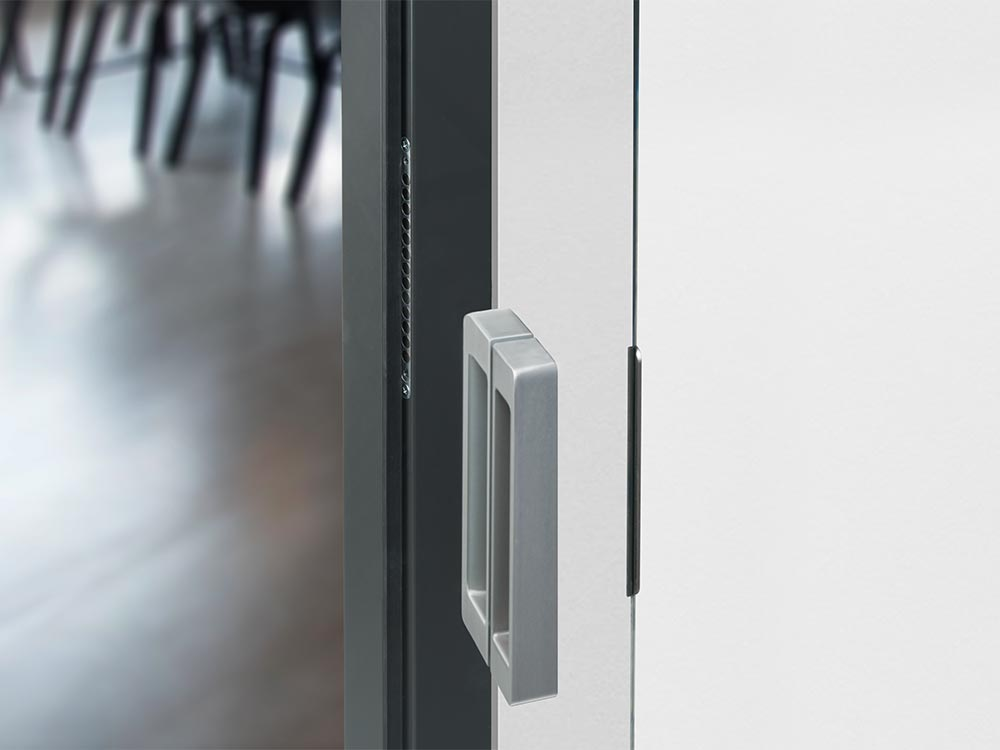 Mit im TECTUS Glas Komplettpaket: Griff und magnetisches Schließsystem