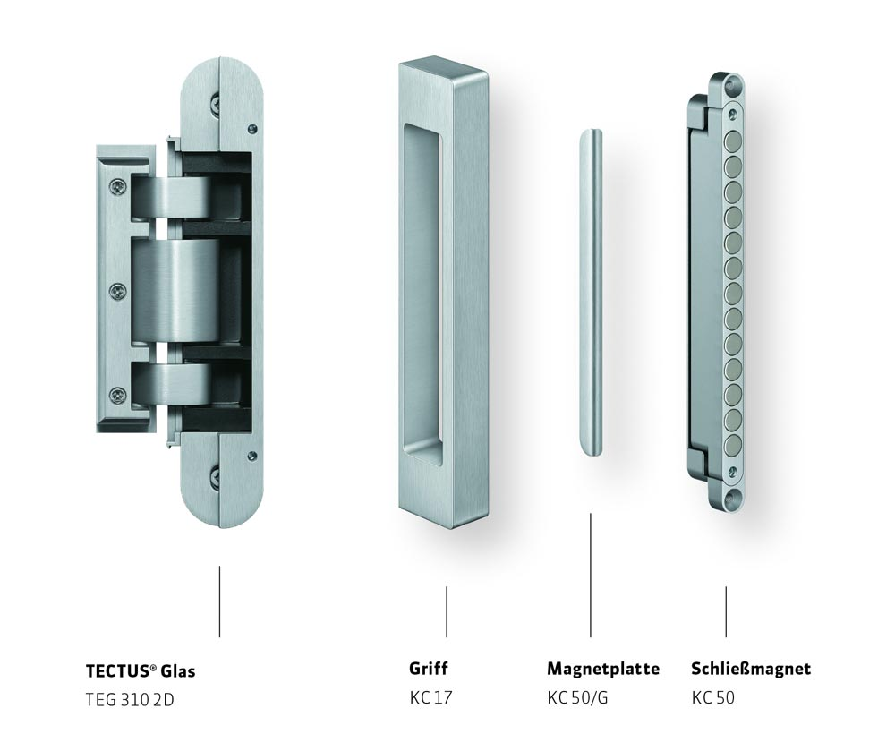 Die Einzelkomponenten des TECTUS Glas-Systems von Simonswerk: Band, Griff, Magnetplatte und Schließmagnet.