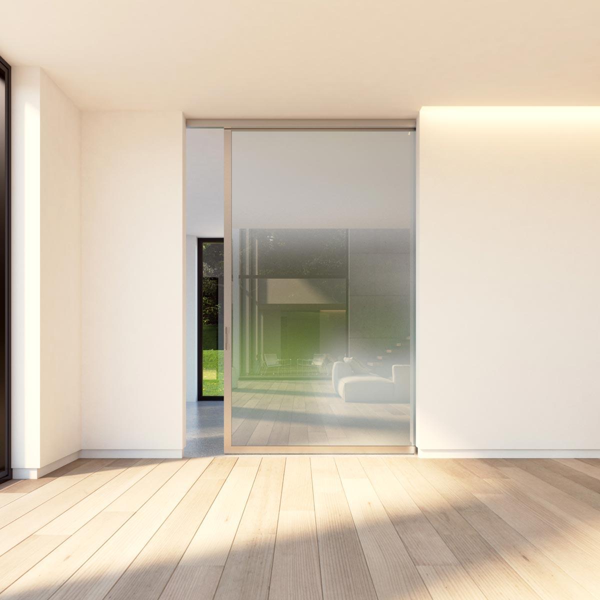 Glas-Schiebetür satiniert mit silbernem Rahmen