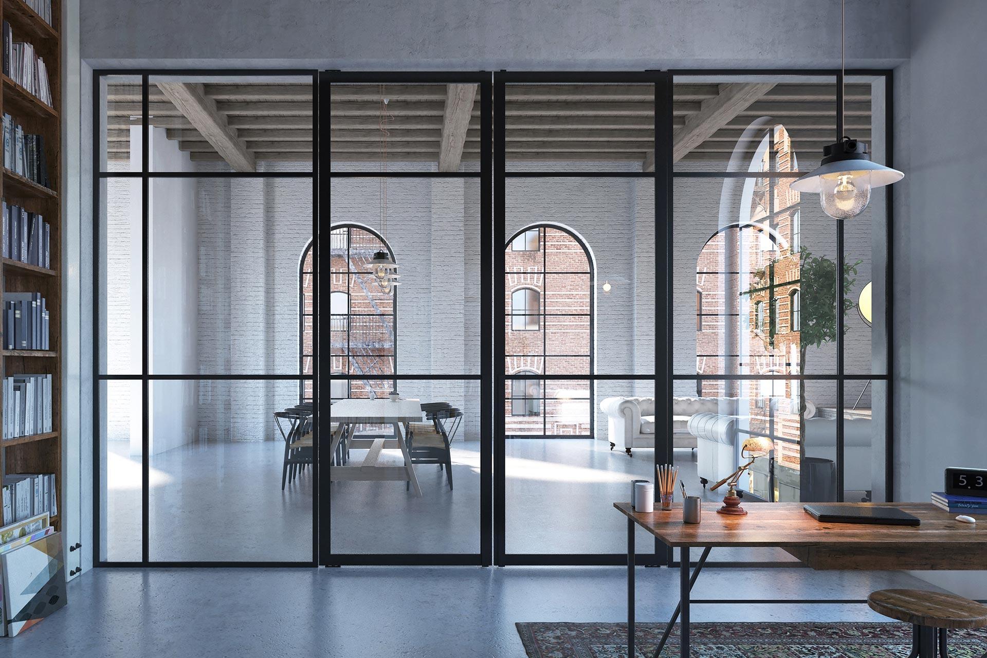 Pivot-Türen mit Glasleisten als Flügeltüren mit passender Glastrennwand geschlossen