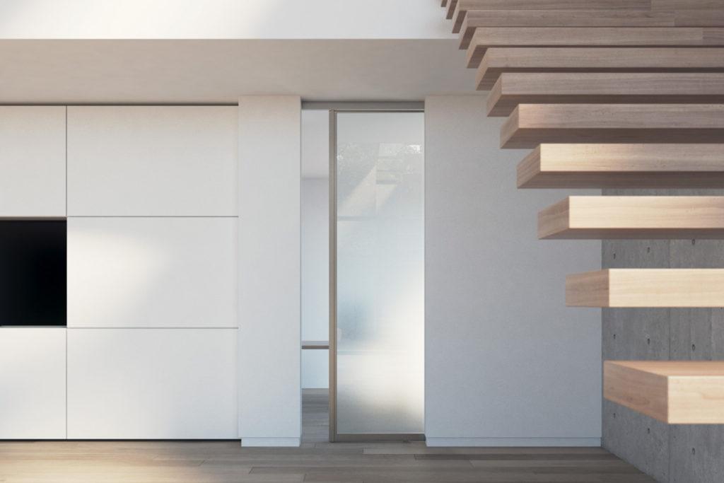 Loft-Schiebetür satiniert mit Alumiumrahmen eloxiert in Edelstahl
